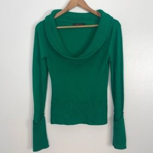 BCBGMaxazria green cowl neck Sweater size medium